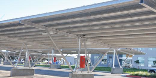 Schletter stål garage solcelle monteret