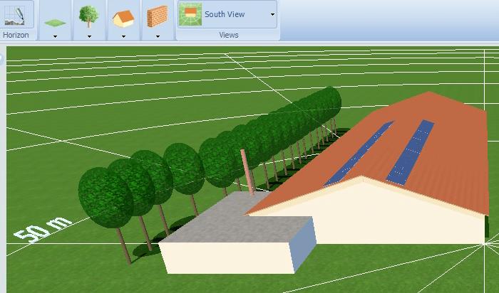 tegning skygge beregning for placering af solcelle paneler
