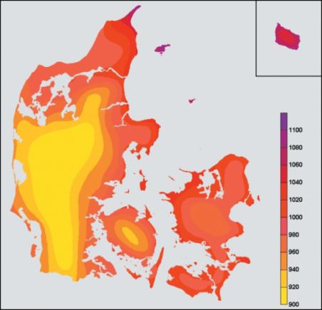 Tegning solskin i forskellige dele af Danmark VIDEN OM SOLCELLEENERGI