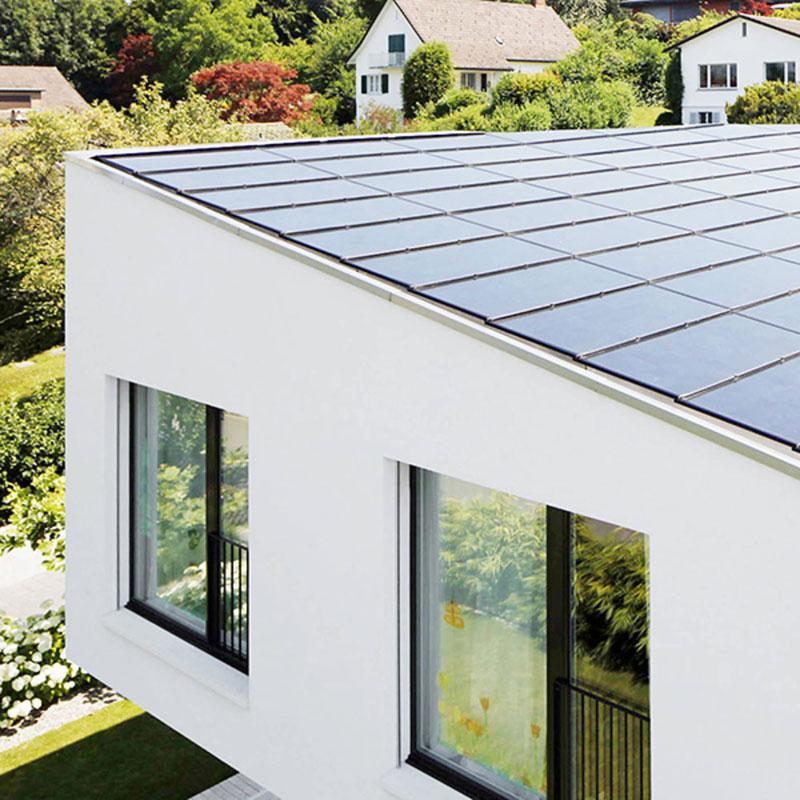 tagintegreret solcelle paneler på flat tag